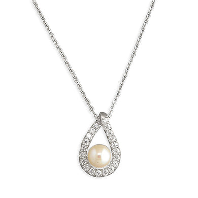Sterling Silver Cubic Zirconia 42-45cm Outline Teardrop with Freshwater Pearl Necklace