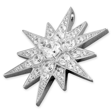 Sterling Silver Large Cubic Zirconia Northern Star Pendant