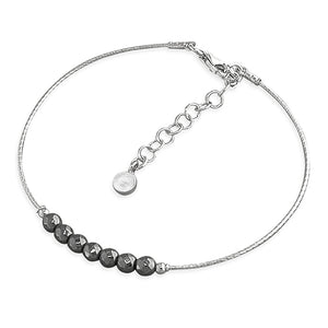 Sterling Silver Black Beads 19-22cm On Rhodium Cable Bracelet