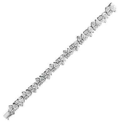 Sterling Silver Teardrops 16cm and Oval Cubic Zirconia Clusters Bracelet