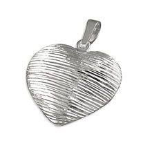 Sterling Silver Diamond Cut Striped Heart Pendant