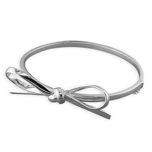 Sterling Silver Bow Hinged Bangle