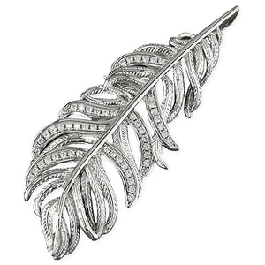 Sterling Silver Cubic Zirconia Textured Feather Pendant