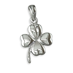 Sterling Silver Four Leaf Clover with Stem Pendant
