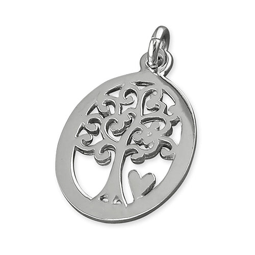 Sterling Silver Tree Of Life With Heart In Cut Out Oval Pendant