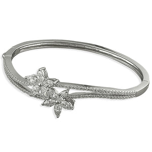 Sterling Silver Double Cubic Zirconia Flowers On Hinged Double Wave Bangle