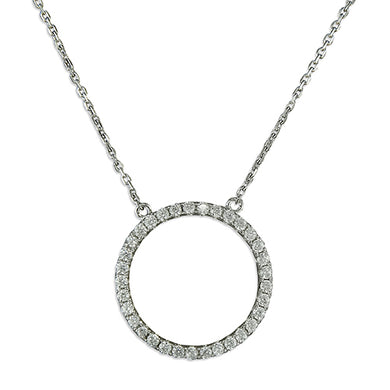 Sterling Silver Ciubic Zirconia 41-45cm Circle-Of-Life Necklace