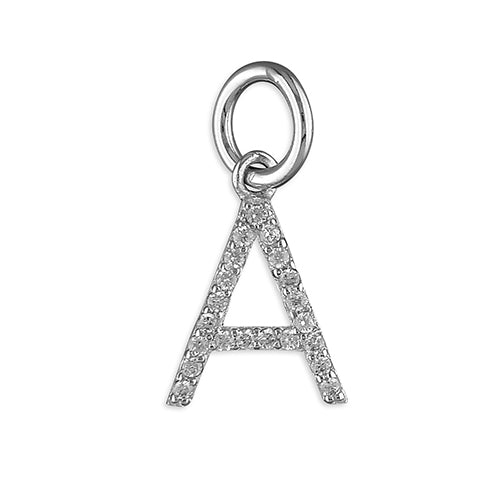 Sterling Silver Thin Cubic Zirconia Initial A Pendant