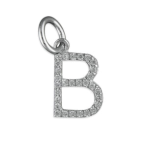 Sterling Silver Thin Cubic Zirconia Initial B Pendant