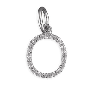 Sterling Silver Thin Cubic Zirconia Initial O Pendant