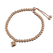 Sterling Silver Rose Gold-Plated Bead Slider with Heart Charm Bracelet