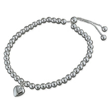 Sterling Silver Bead Slider with Heart Charm Bracelet