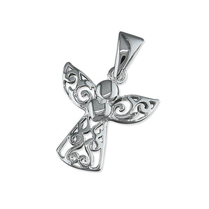 Sterling Silver Filigree Angel with Heart Pendant