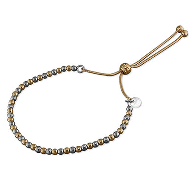 Sterling Silver Rose gold and Rhodium-Plated Two-Tone Bead Slider Bracelet