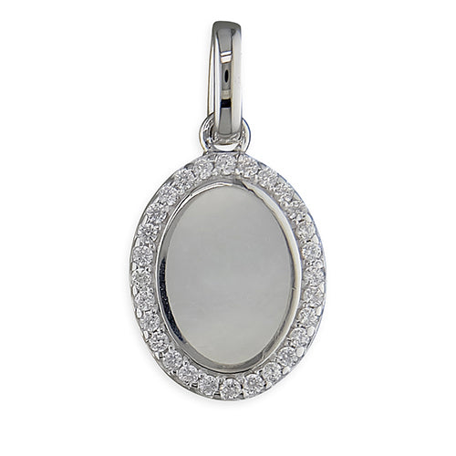 Sterling Silver Mother-Of-Pearl and Cubic Zirconia Oval Halo Pendant