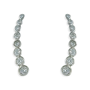 Sterling Silver Eight Rub-Over Cubic Zirconias Up-The-Ear Earring