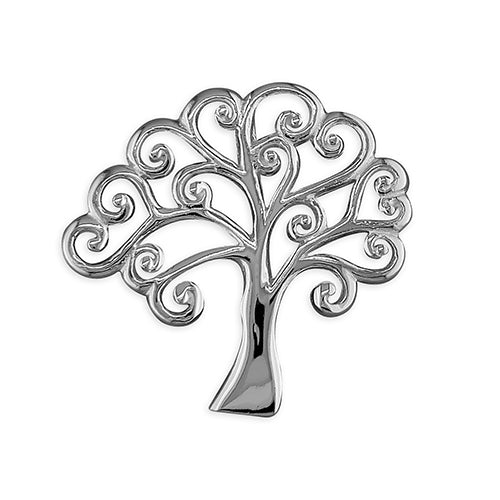 Sterling Silver Floating Swirl Tree-Of-Life Pendant