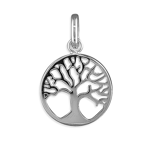 Sterling Silver Small Tree-Of-Life Circle Pendant