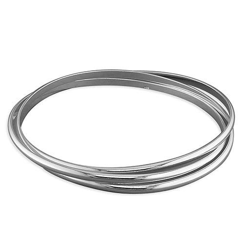 Sterling Silver Triple-Court Russian Bangle