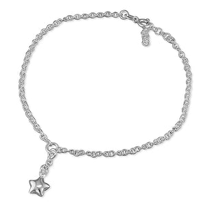 Sterling Silver Star Charm 25cm On Chain Anklet