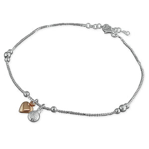 Sterling Silver Rose Gold-Plated 25cm Heart and Silver Ladybird Charms Anklet