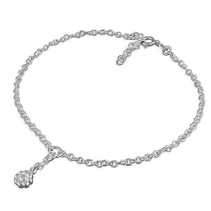 Sterling Silver Flower Charm 25cm On Chain Anklet