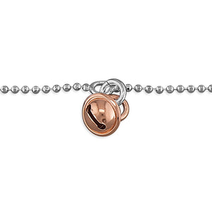 Sterling Silver Rose Gold-Plated Bell 25cm On Chain Anklet