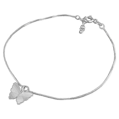 Sterling Silver Butterfly Charm 25cm On Chain Anklet