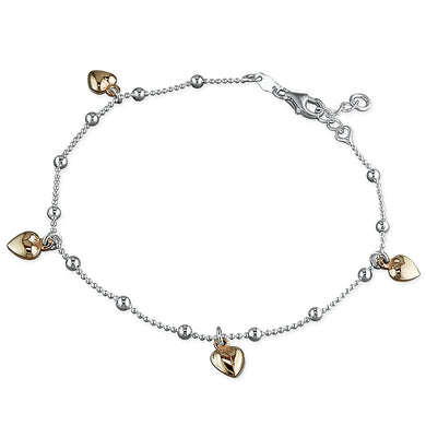 Sterling Silver Five Rose Gold-Plated 25cm Hearts On Chain Anklet