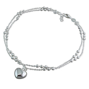 Sterling Silver Double Beaded 25cm Chain with Heart Anklet