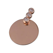 Sterling Silver Plain Disc with Cubic Zirconia Bail Pendant