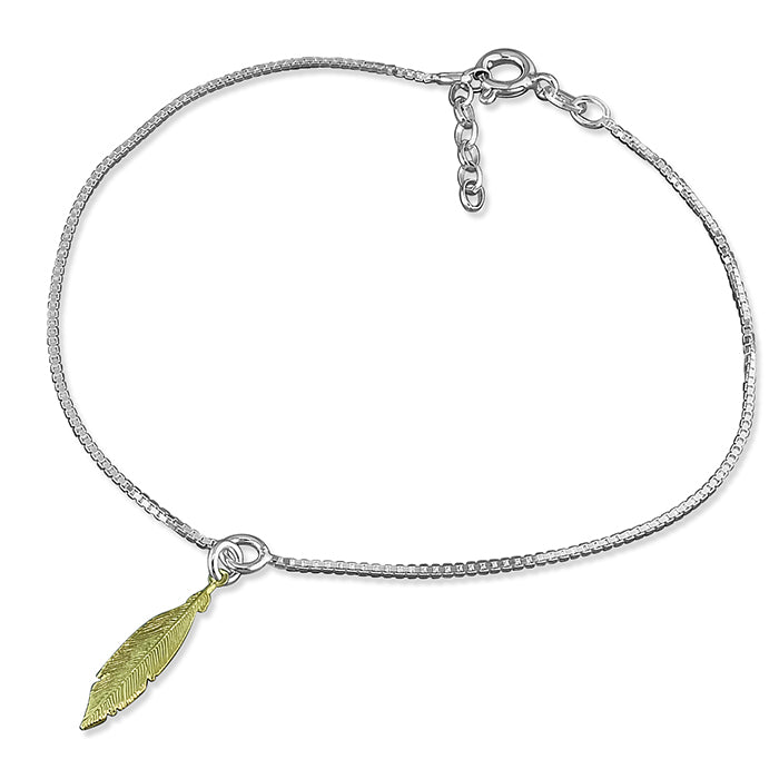 Sterling Silver Small Gold-Plated 25cm Feather On Chain Anklet