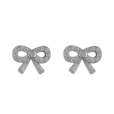Sterling Silver Small Cubic Zirconia Bow Stud Earring