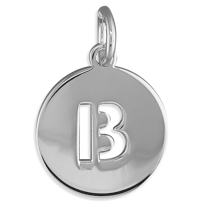 Sterling Silver Cut-Out Disc Initial B Pendant