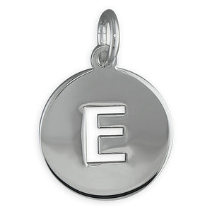 Sterling Silver Cut-Out Disc Initial E Pendant