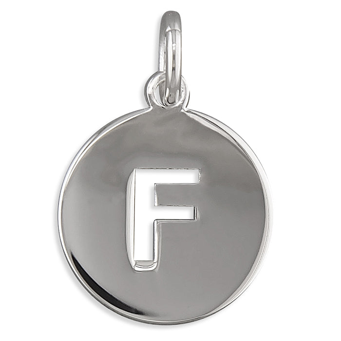Sterling Silver Cut-Out Disc Initial F Pendant