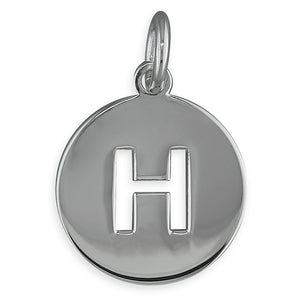 Sterling Silver Cut-Out Disc Initial H Pendant