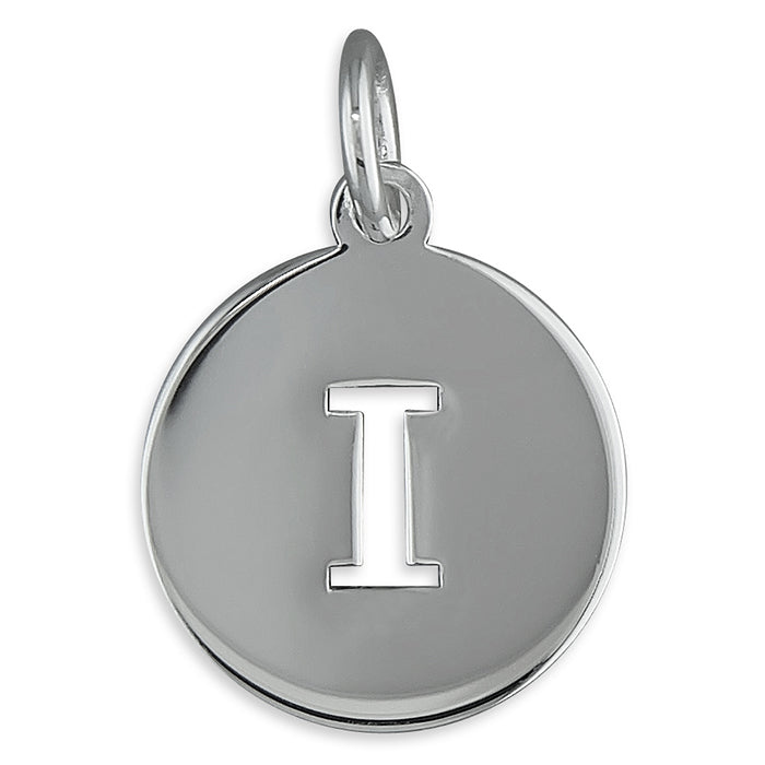 Sterling Silver Cut-Out Disc Initial I Pendant