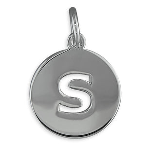 Sterling Silver Cut-Out Disc Initial S Pendant
