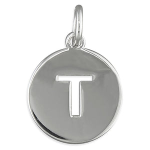 Sterling Silver Cut-Out Disc Initial T Pendant
