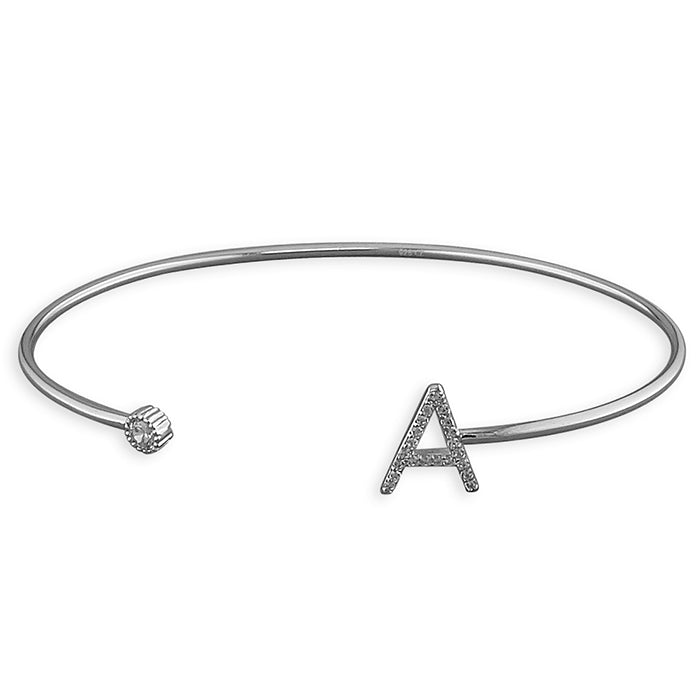 Sterling Silver Open Cuff with Cubic Zirconia Thin Initial A Bangle