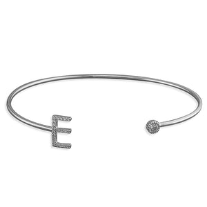 Sterling Silver Open Cuff with Cubic Zirconia Thin Initial E Bangle