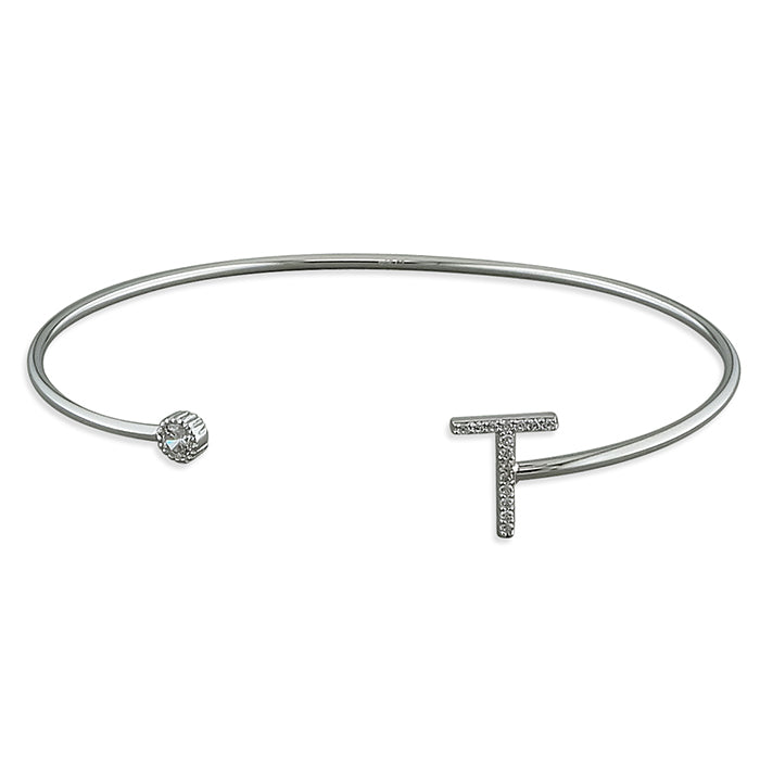 Sterling Silver Open Cuff with Cubic Zirconia Thin Initial T Bangle