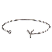 Sterling Silver Open Cuff with Cubic Zirconia Thin Initial Y Bangle