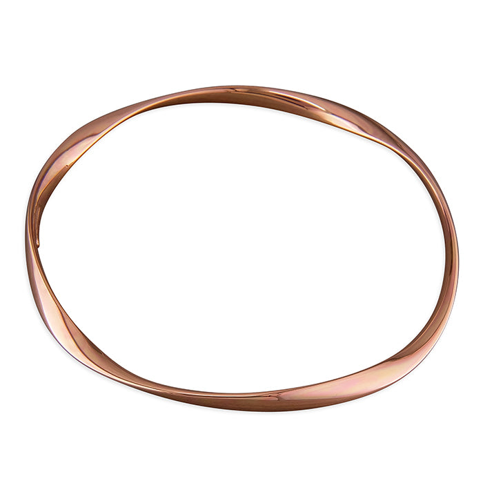 Sterling Silver Rose Gold-Plated Soft Twist Plain Slave Bangle
