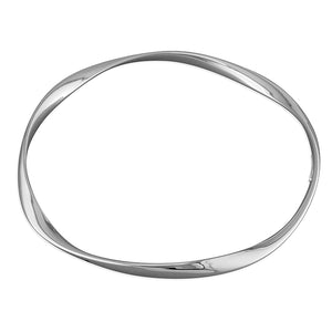 Sterling Silver Soft Twist Plain Slave Bangle