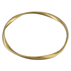 Sterling Silver Gold-Plated Soft Twist Plain Slave Bangle
