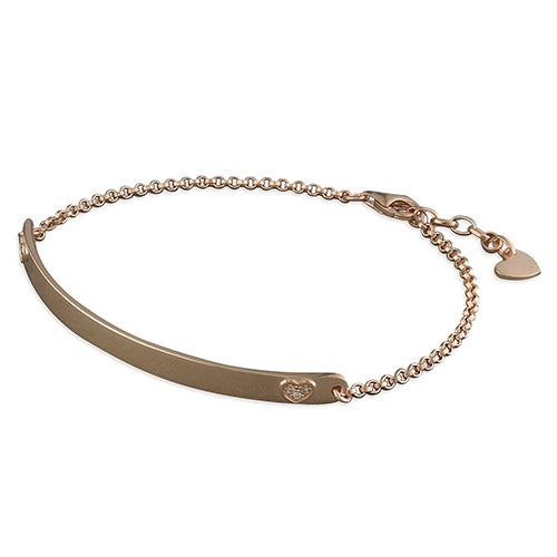 Sterling Silver Rose Gold-Plated Cubic Zirconia Heart ID Bracelet
