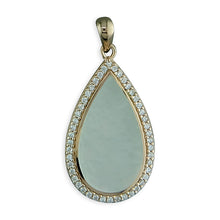 Sterling Silver Rose Gold-Plated Mother Of Pearl and White Cubic Zirconia Teardrop Pendant