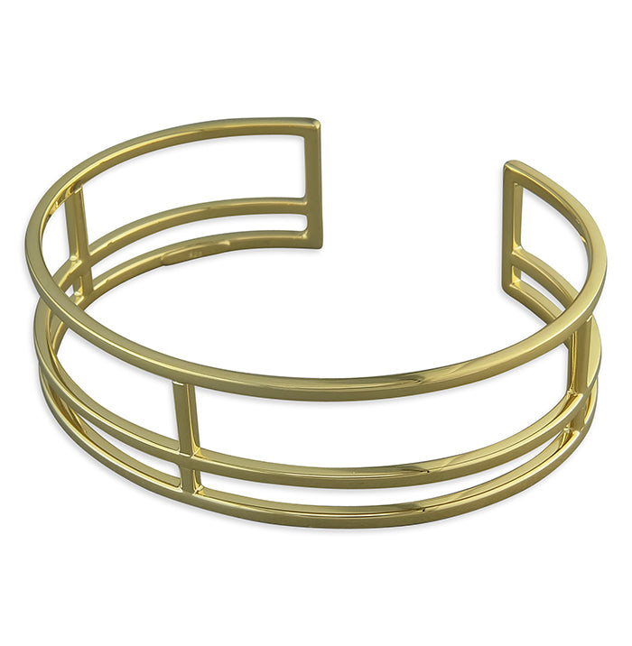 Sterling Silver Gold-Plated Mackintosh Cuff Bangle